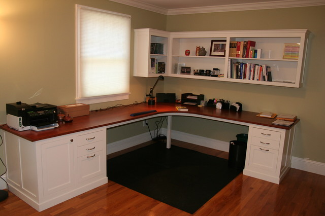 Custom Desk With Shelving Above Traditional Home Office And Library