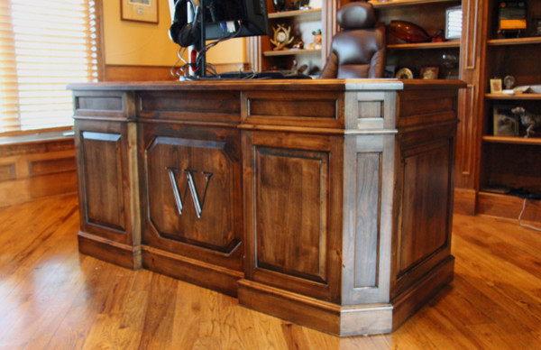 Custom executive desk traditional home office denver by haak designs llc - Custom office desk ...