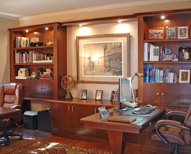 custom hardwood built in furniture traditional home office