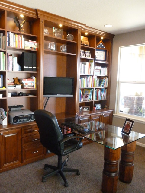 Custom Home Custom Office Library Traditional Home