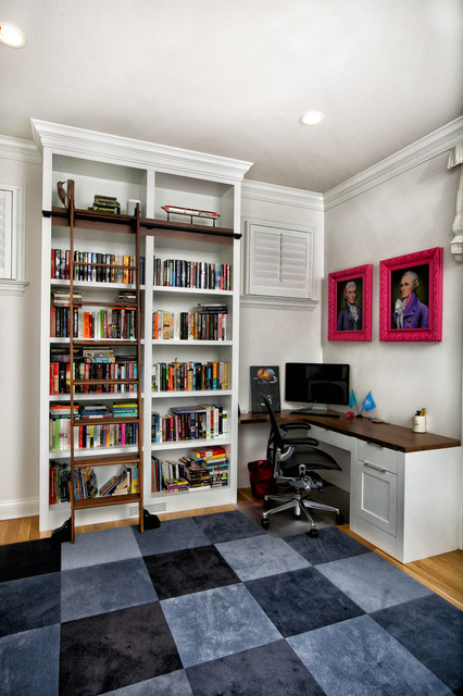 Example Of A Mid Sized Transitional Built In Desk Light Wood Floor And Beige
