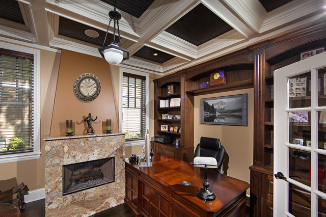 Custom Home Office Library With Fireplace & Coffered ...