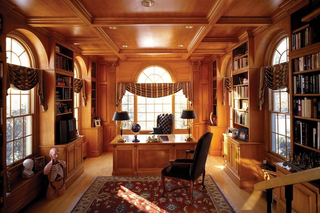Custom Libary in Maple by Odhner & Odhner Fine Woodworking Inc. traditional home office