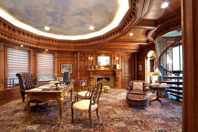 Mid Sized Luxury Home Office Traditional Home Office