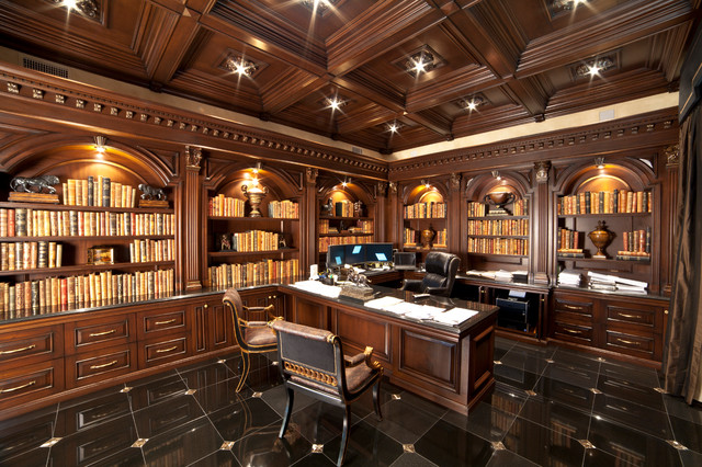 Large luxurious home office traditional home office for Large home office