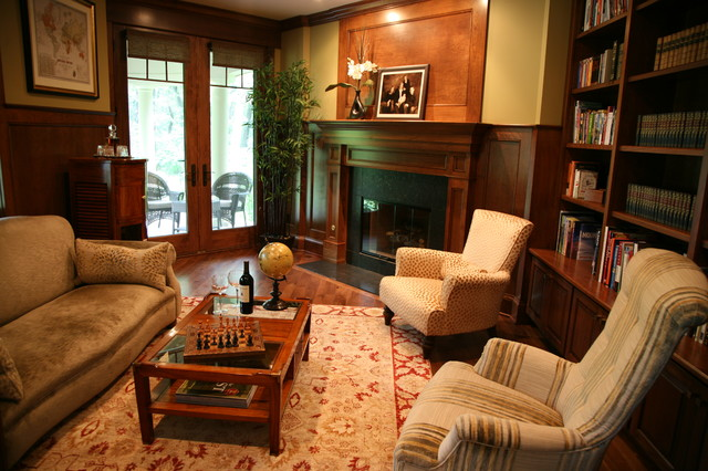 Custom library traditional home office milwaukee for Custom home library design