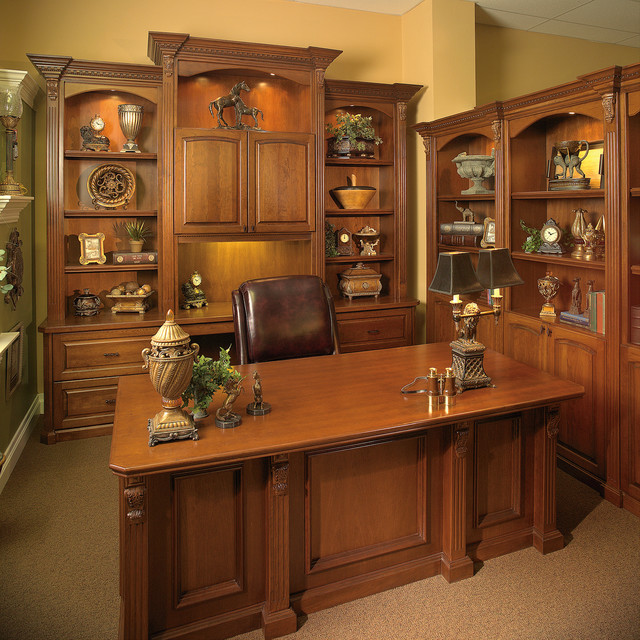 Custom made executive desk with wall unit transitional Custom home office design