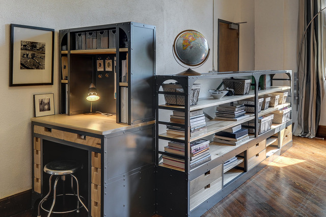 Lovely Custom Metal / Wood Shelf / Desk With Drawers Contemporary Home Office And