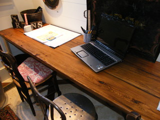 Custom study tabletop from Antique Barn Wood traditional home office