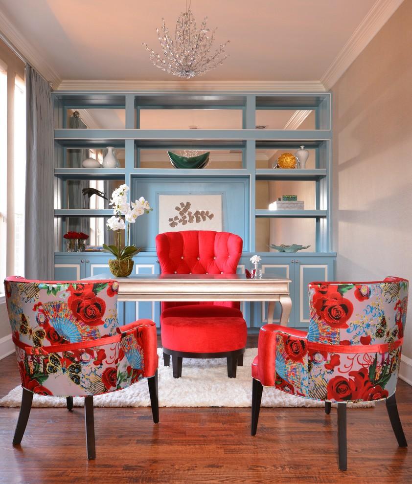 Study room - transitional freestanding desk medium tone wood floor study room idea in Dallas with beige walls