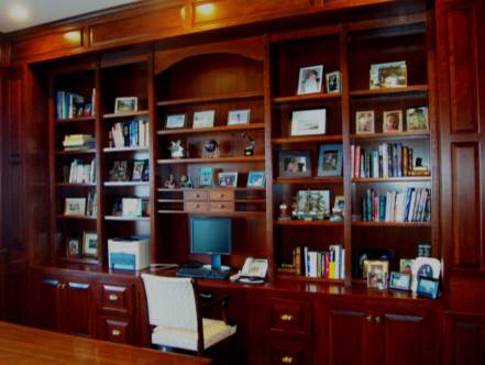 dark cherry home office traditional-home-office