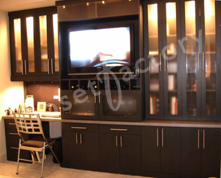 Dark Wood Wall Unit With Office And Entertainment
