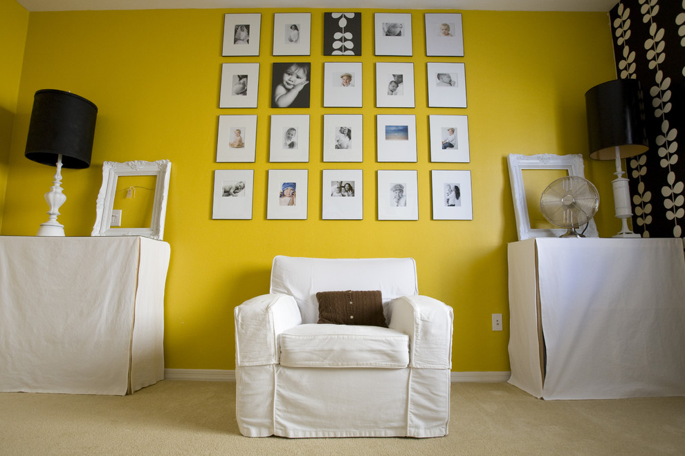 Home office - eclectic home office idea in Salt Lake City with yellow walls