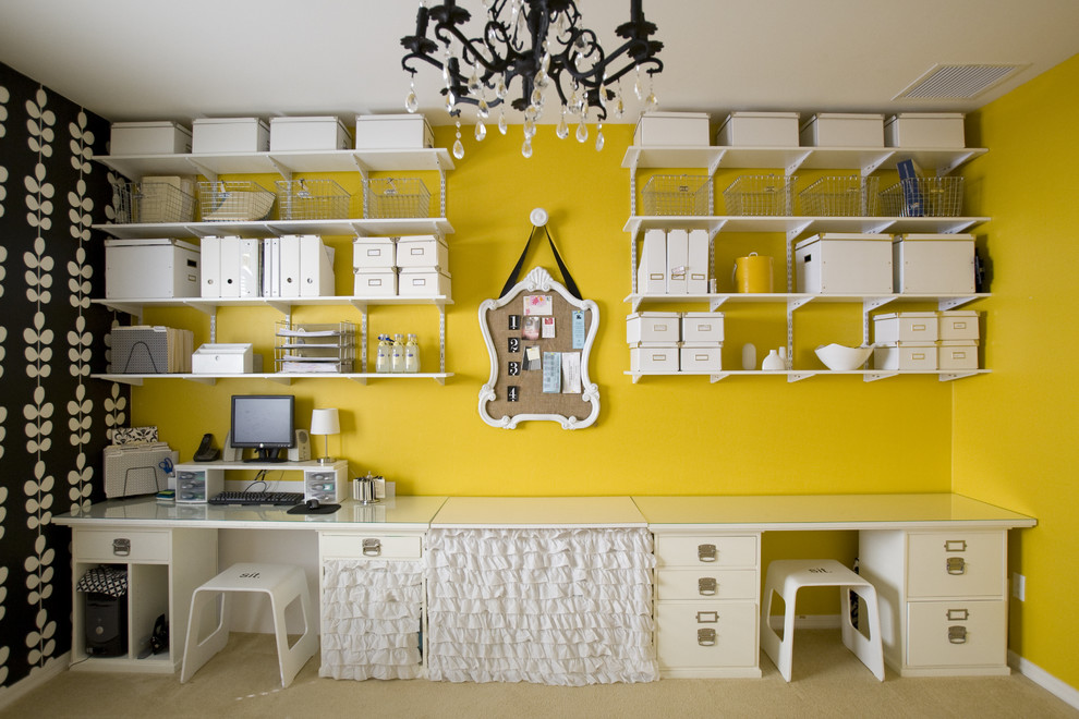 Craft room - contemporary craft room idea in Salt Lake City with yellow walls