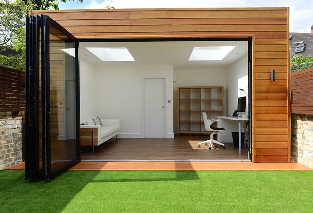 summer house office. Detached Extension And Summer House In Calbourne Road, London Contemporary-home-office- Office