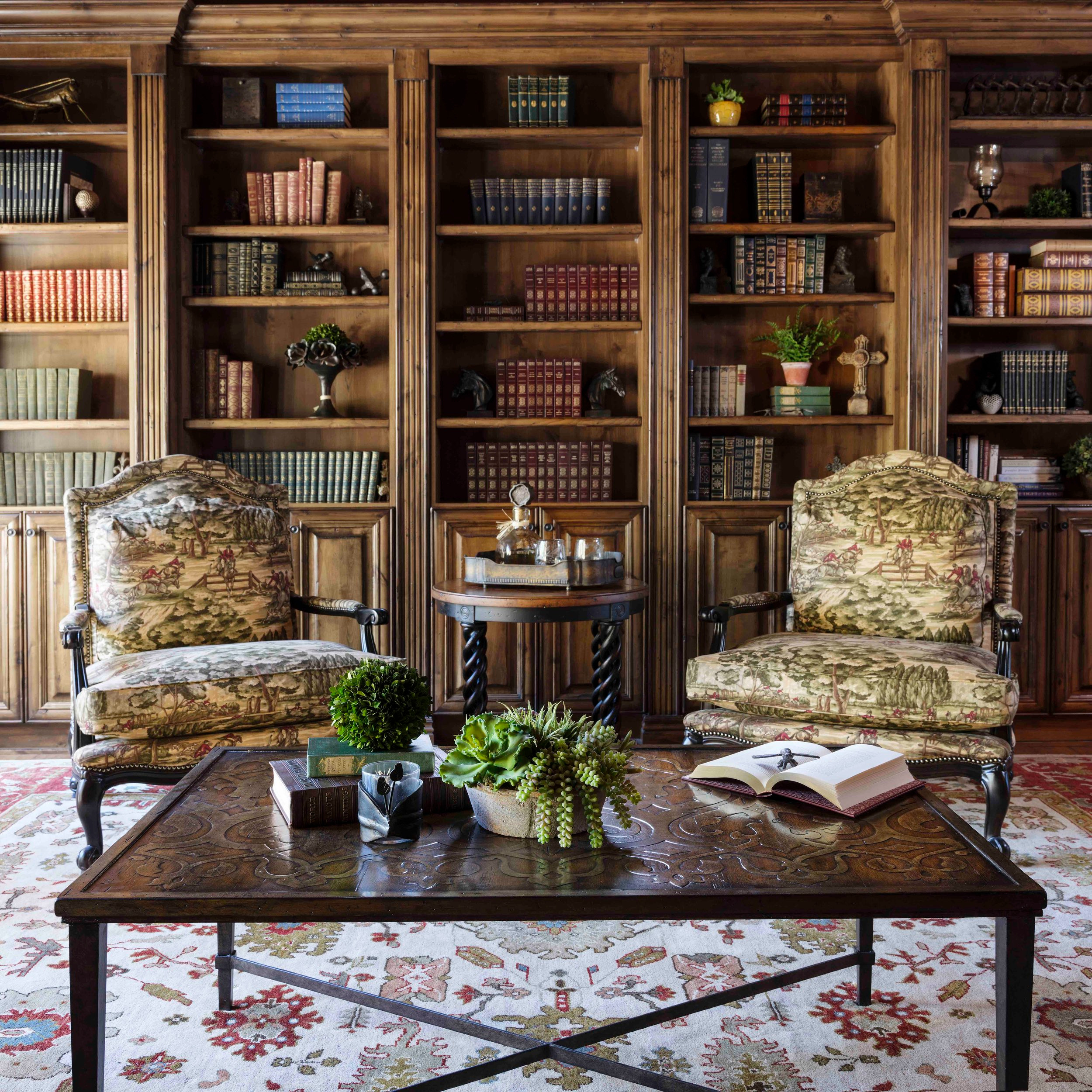 Large tuscan medium tone wood floor and brown floor home office library photo in Phoenix with beige walls