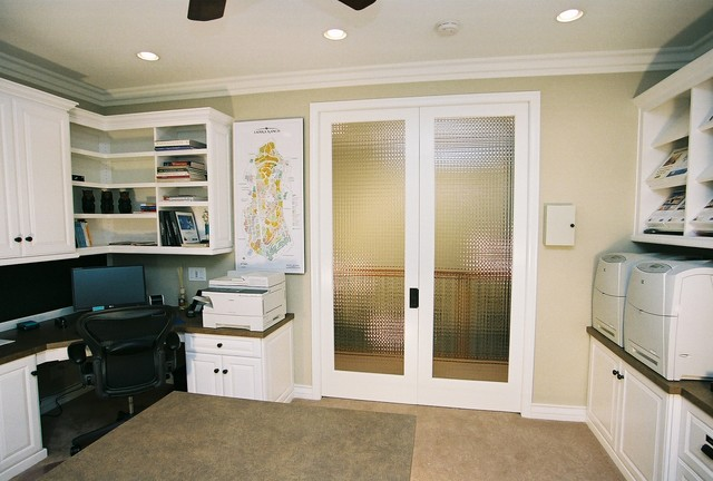 Double French Pocket Doors Traditional Home Office