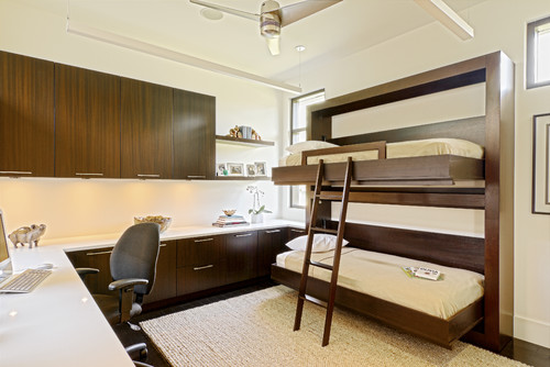 twin murphy beds instead of the usual vertically oriented murphy beds this custom number looks like a traditional bunk and folds horizontally into the bunk bed home office energy