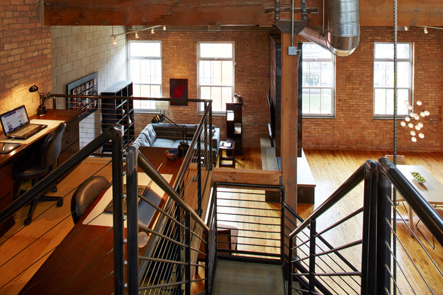 downtown industrial loft industrial home office