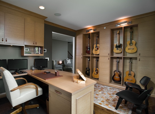 Dual Music Room Office Eclectic Home Office Chicago By Fredman Design Group