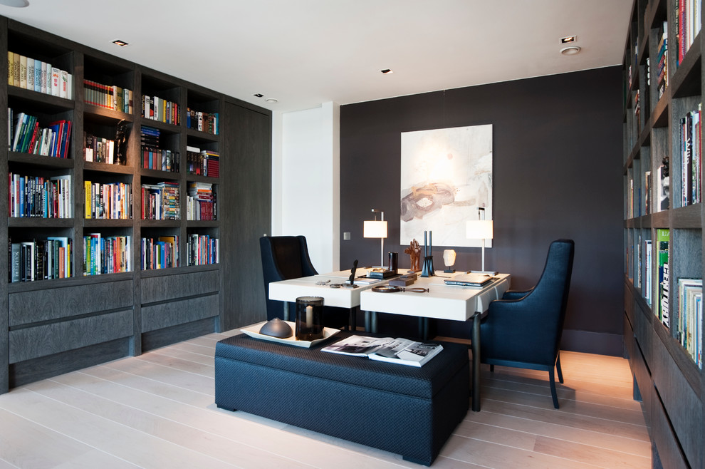 Transitional freestanding desk home office photo in New York