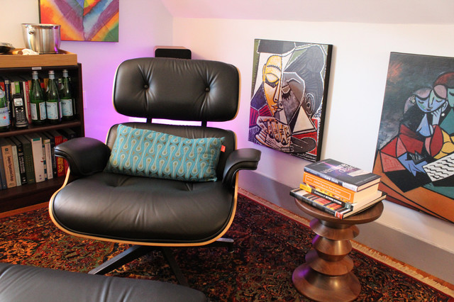Eames Lounge Chair & Eames Walnut Stool eclectic-home-office