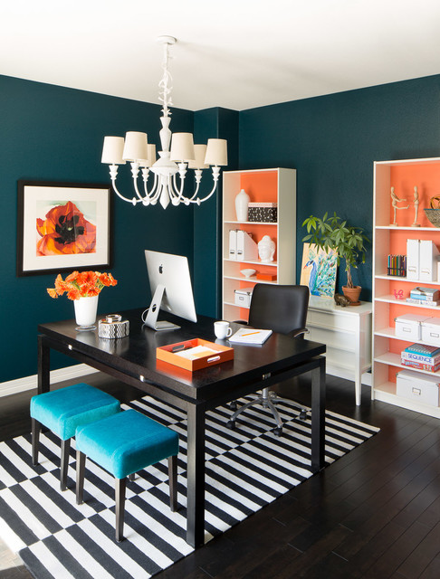 Study room - small transitional freestanding desk dark wood floor study room idea in Denver with blue walls and no fireplace