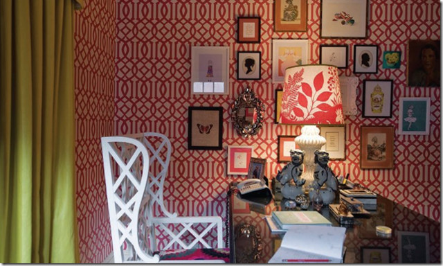 red imperial trellis eclectic-home-office