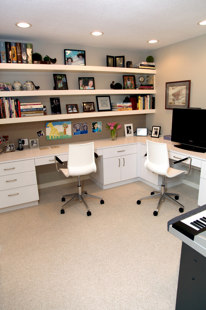 Example of a trendy home office design in Portland