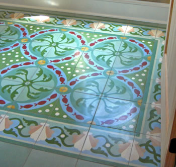 Encaustic tile small office floor eclectic-home-office