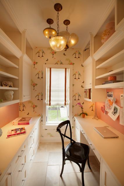 Example of a classic built-in desk beige floor home office design in Minneapolis