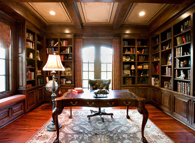 english countryside manor traditional home office - Traditional Home Office