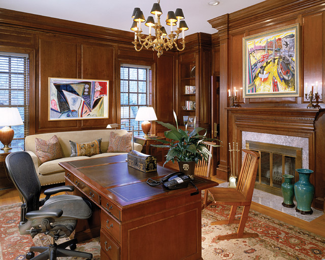 Atherton Library Traditional Home Office English Manor House Mclean