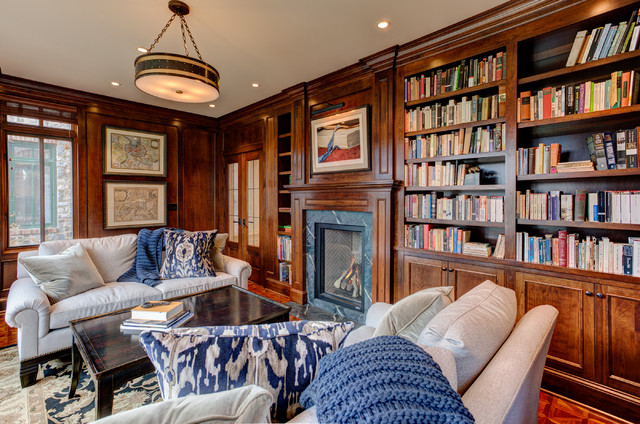 English style library traditional home office for English library decor