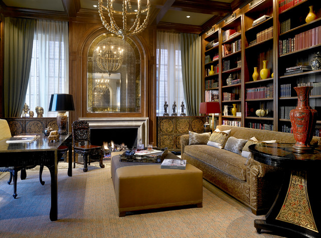 English Towne Home   Lincoln Park Traditional Home Office And Library