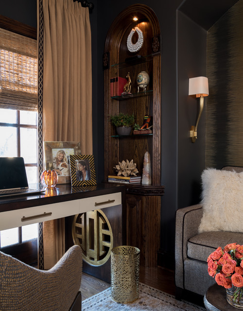 Study room - mid-sized eclectic freestanding desk medium tone wood floor and brown floor study room idea in Dallas with brown walls and no fireplace