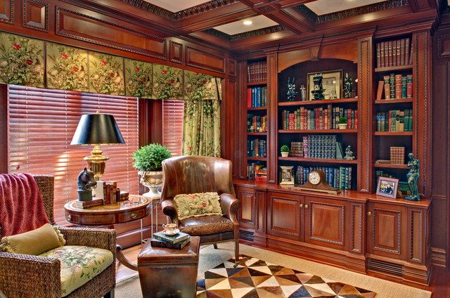 Far hills home library and office Traditional home library design ideas