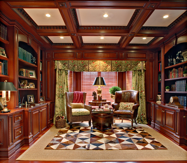 Far Hills Home Library and Office traditional-home-office