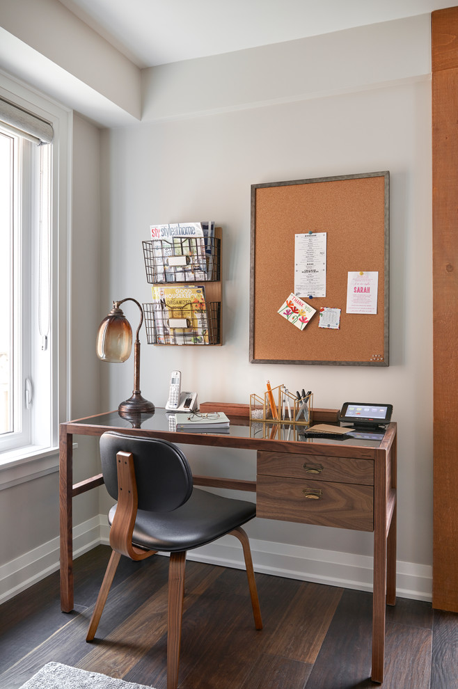 Inspiration for a small midcentury study in Toronto with dark hardwood flooring, a freestanding desk, brown floors, grey walls and no fireplace.