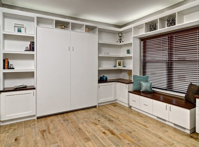 home office with murphy bed. Home Office - Large Contemporary Built-in Desk Light Wood Floor And Brown  Home With Murphy Bed T
