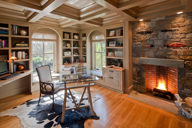 Modern traditional living room before and after - Fireplace Traditional Home Office Boston By