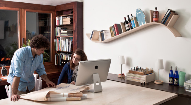 Modern office shelving White Lacquer Houzz Bookcases And Floating Shelves That Break The Mold