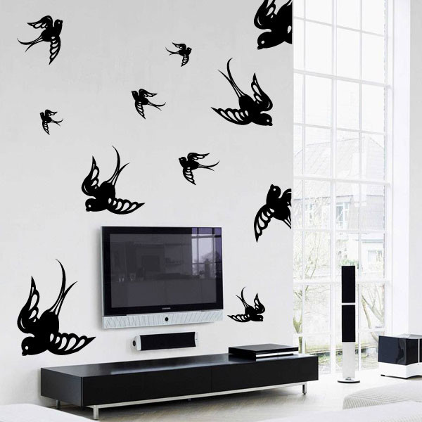 Flying sparrows wall decal kit contemporary home for Kitchen colors with white cabinets with flying swallows wall art