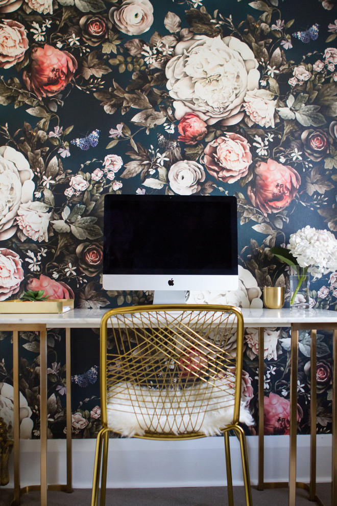 Mid-sized eclectic freestanding desk carpeted and gray floor study room photo in Toronto with multicolored walls