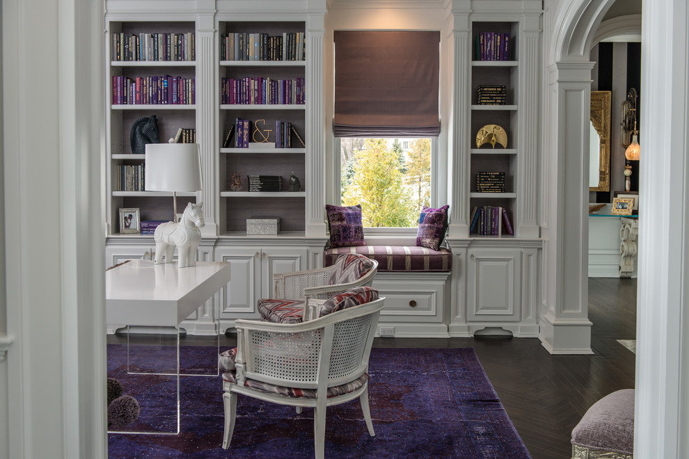 Study room - traditional freestanding desk dark wood floor study room idea in New York with white walls