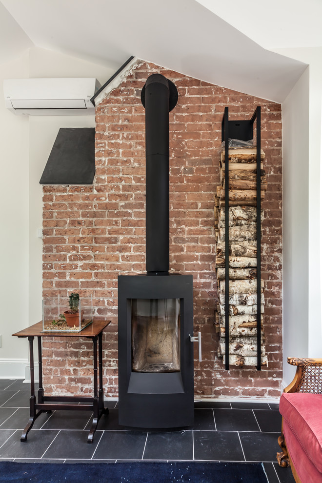 Free Standing Wood Burning Stove Traditional Home Office New York By Kraftmaster Renovations
