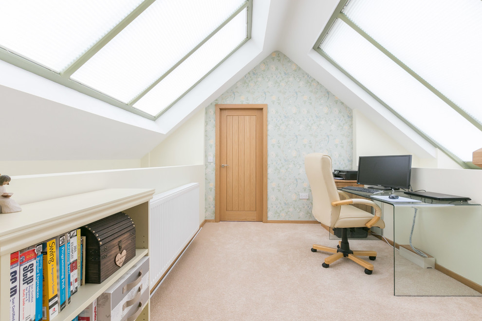 Small country freestanding desk carpeted study room photo in Other with multicolored walls