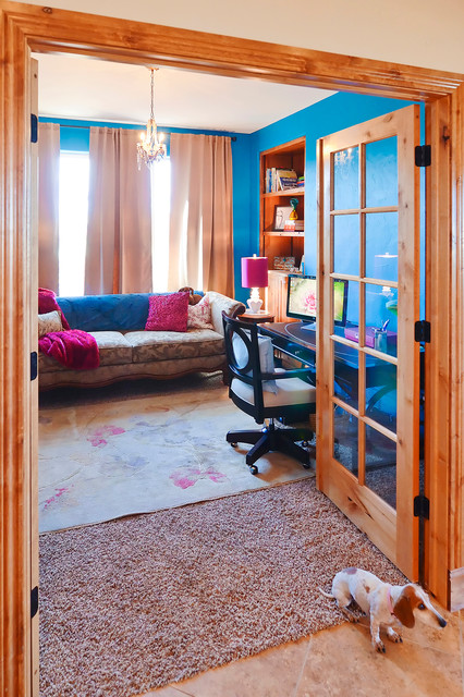 French doors trimmed in alder wood eclectic-home-office