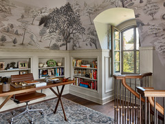 10 Home Offices With Wallpapered Ceilings