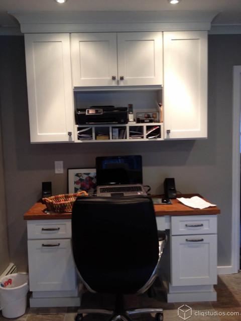 Fresh White Kitchen With Built In Desk Traditional